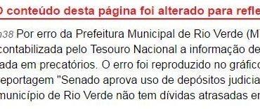 Errata: Folha de S. Paulo corrigiu informação sobre dívida em precatórios de Rio Verde