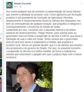 Nota postada ontem (14) no Facebook