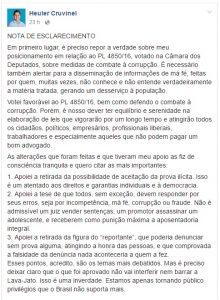 Nota de esclarecimento que foi publicada e apagada nesta quinta-feira do Facebook