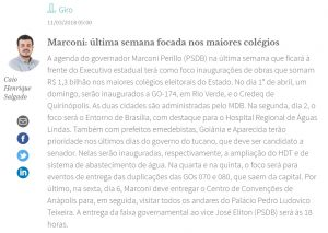 (Coluna Giro/ O Popular/ Caio Henrique Salgado/ 11-03-2018)